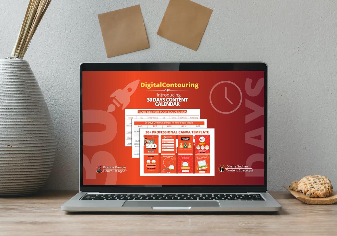 Social media content calendar showing in laptop